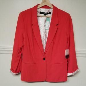 Lg Kensie Rebekah Stretch Crepe Blazer Red NWT